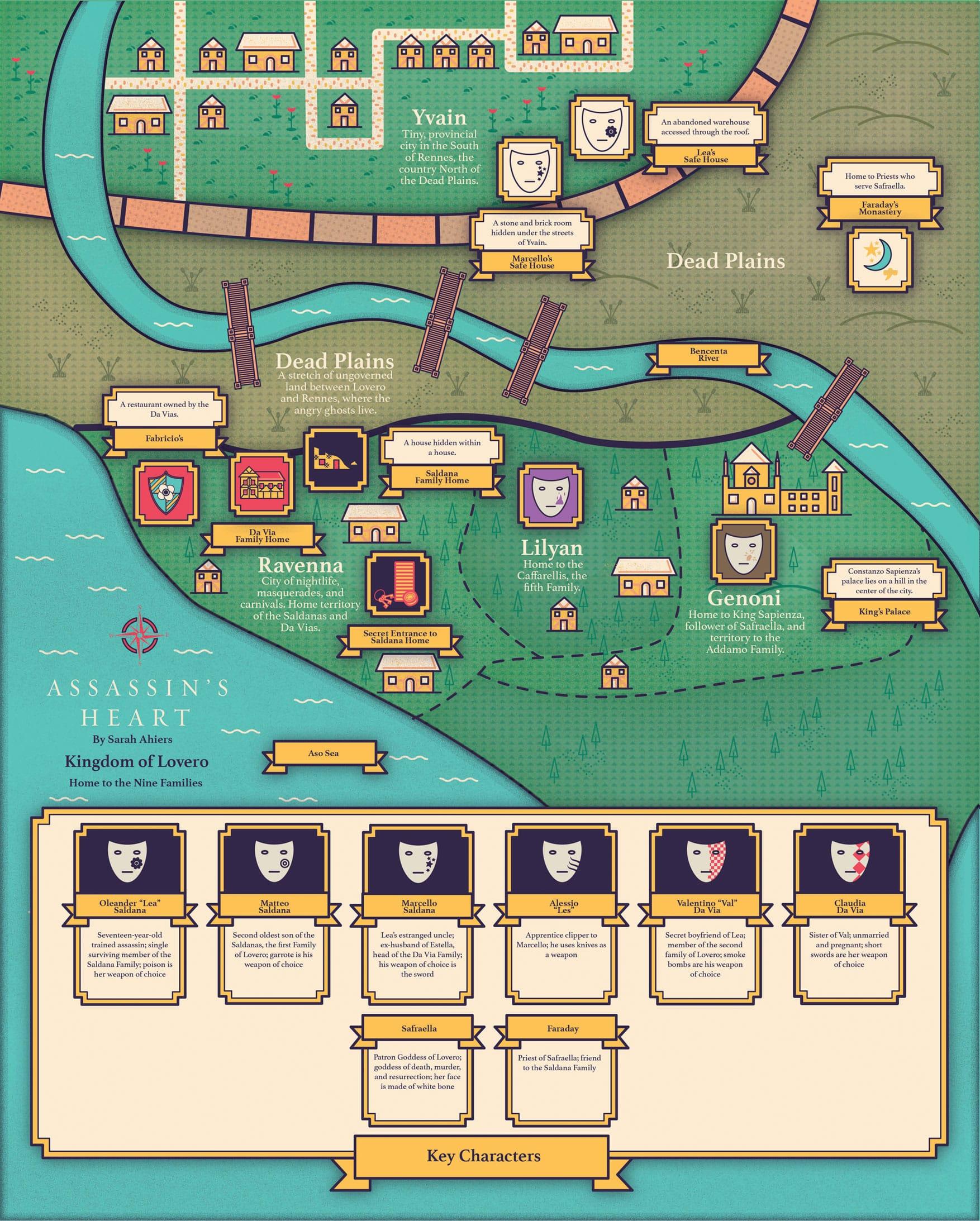 Assassin's Heart world map infographic