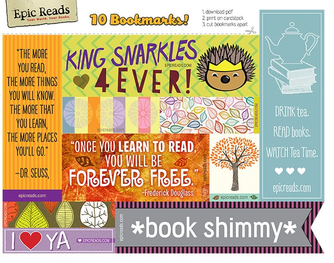 image relating to Free Printable Bookmarks Pdf identified as Cost-free Printable Bookmarks: Drop 2013 Model Epic Reads Weblog