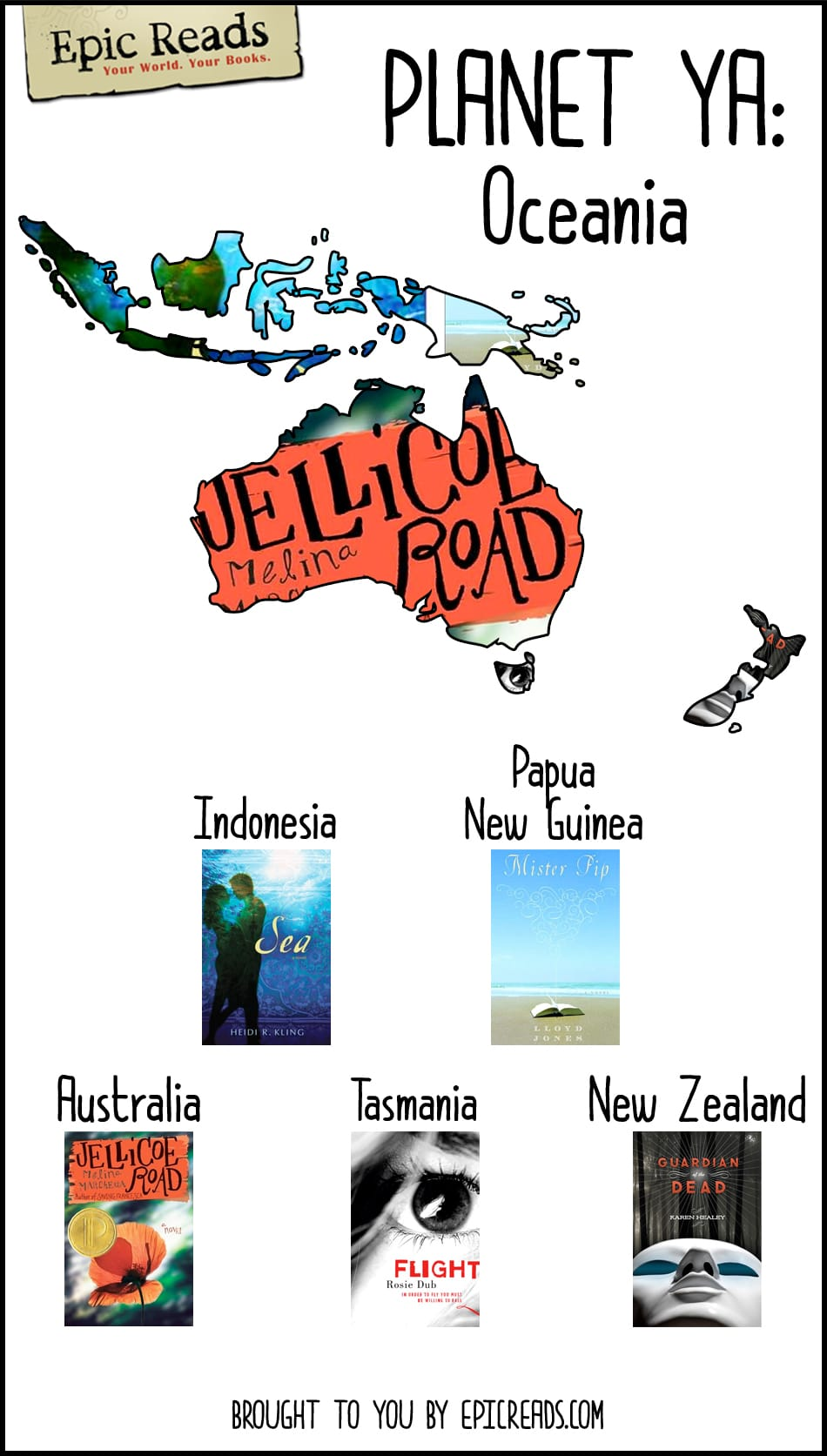 Read your way across #PlanetYA with this map created by Epic Reads! How many Oceania books have you read?