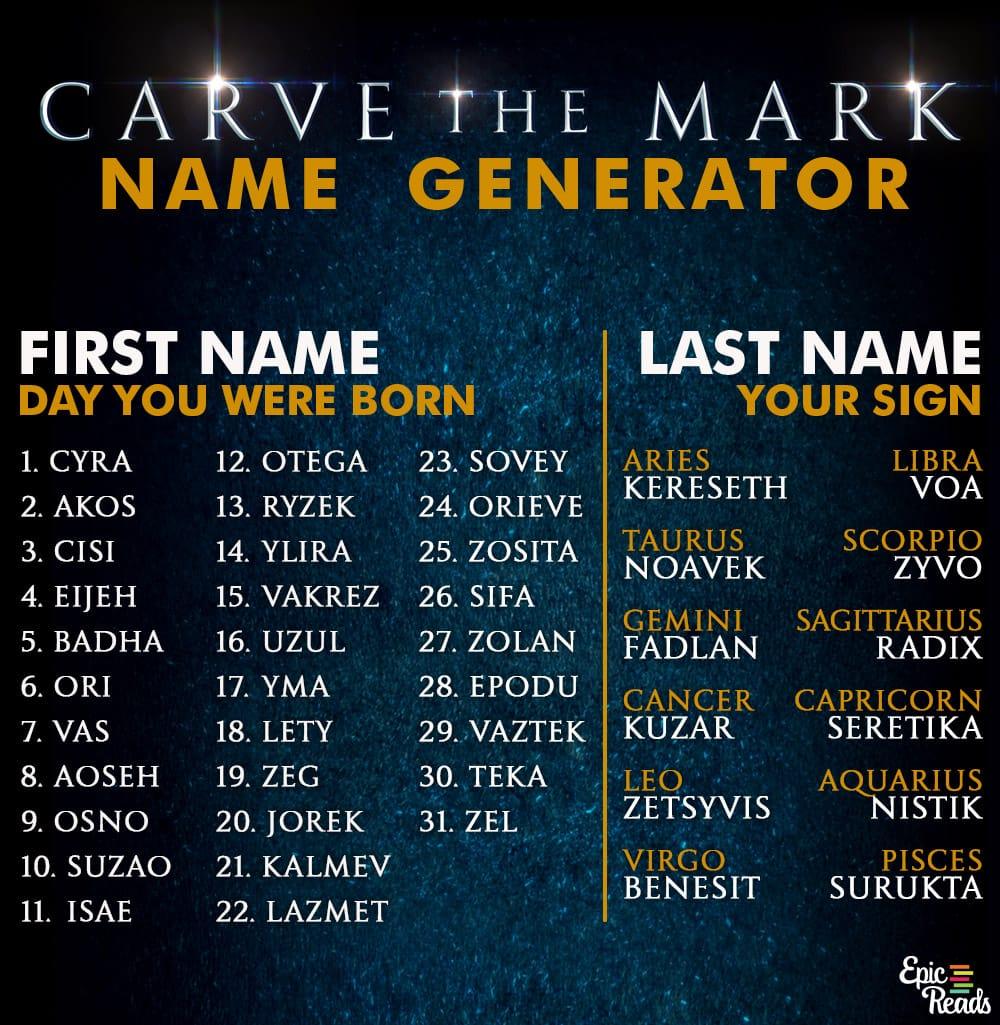 Carve the Mark Name Generator