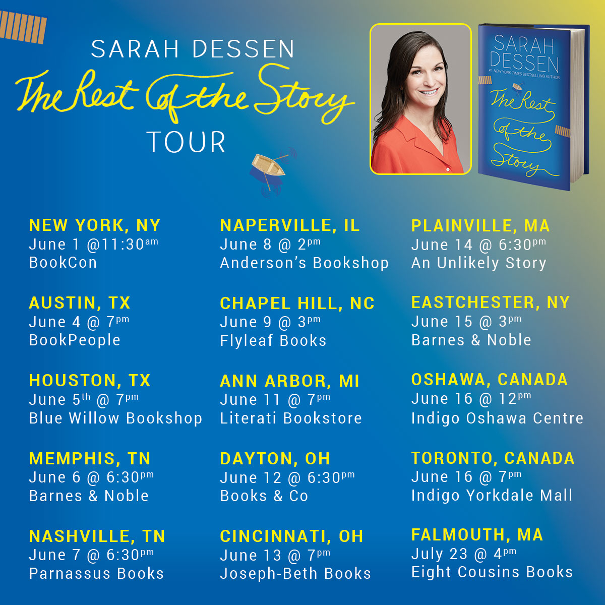 Sarah Dessen's The Rest of The Story book tour